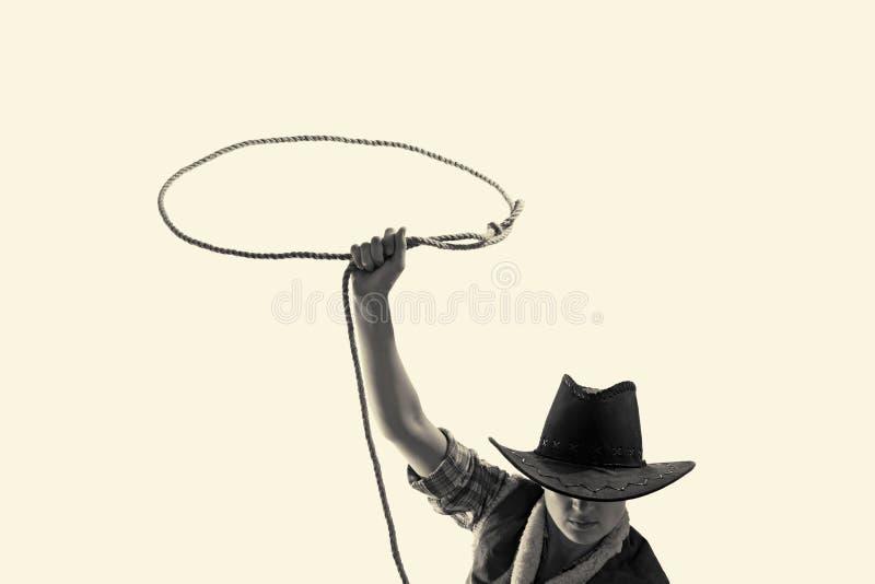 Il cowboy getta un lazo immagini stock