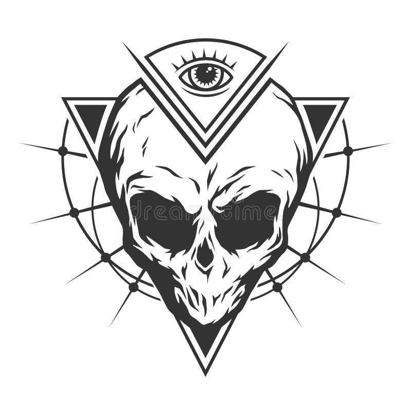 Il cranio è uno straniero ed occhio tutto vedere illustrazione di stock