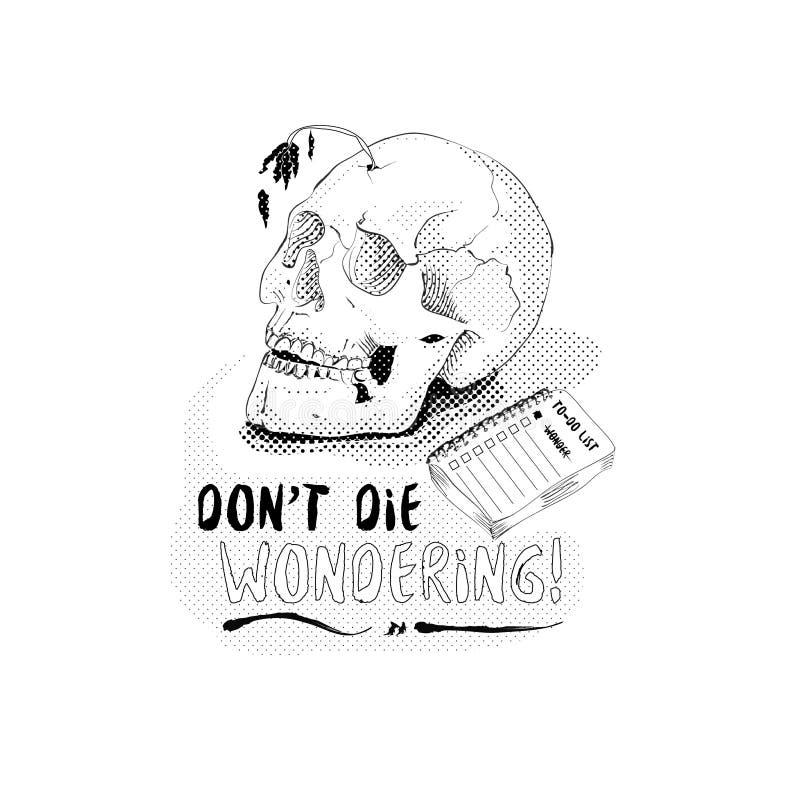 Il cranio capo indossa il ` t muore domandarsi l'illustrazione di semitono fotografie stock