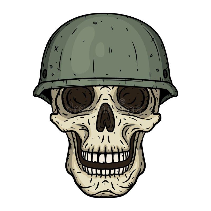 Il cranio di un soldato che indossa un casco illustrazione vettoriale
