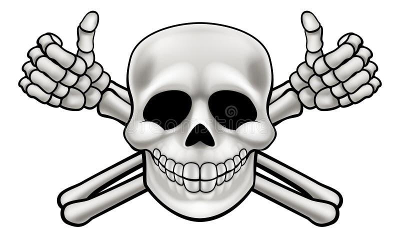 Il cranio ed i pollici del fumetto aumentano le tibie incrociate royalty illustrazione gratis