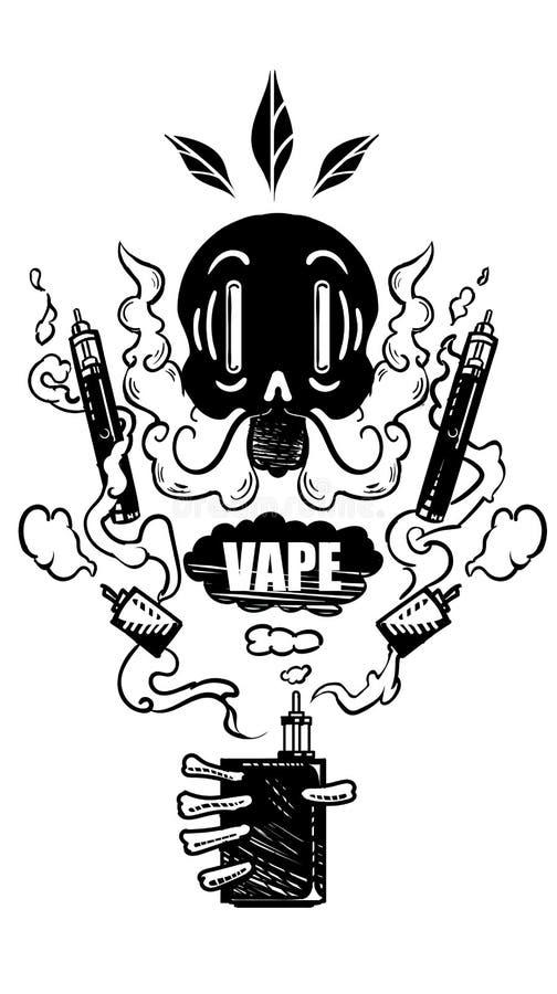Il cranio fuma e lascia il vapore fuori Etichetta di Vape E-sigaretta, mods vaping della scatola Emblema di scheletro Isolato su  royalty illustrazione gratis