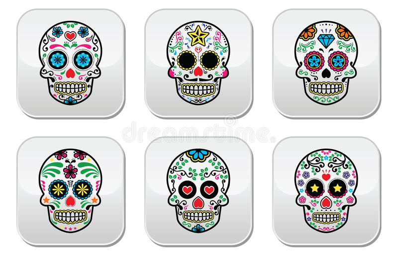 Il cranio messicano dello zucchero, bottoni di Dia de los Muertos ha messo su fondo bianco illustrazione di stock
