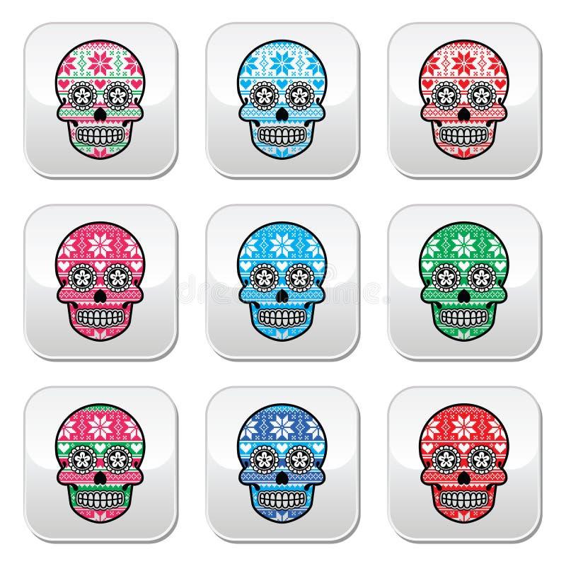 Il cranio messicano dello zucchero si abbottona con il modello del nordico dell'inverno illustrazione di stock