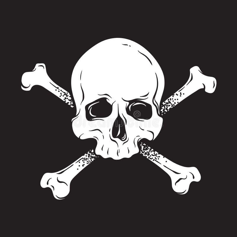 Il cranio umano di Jolly Roger con le tibie incrociate ha isolato l'illustrazione disegnata a mano di vettore Stampi, modello di  royalty illustrazione gratis