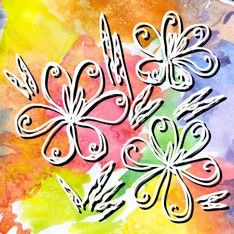 Il croco disegnato a mano fiorisce sul fondo variopinto luminoso dell'acquerello royalty illustrazione gratis