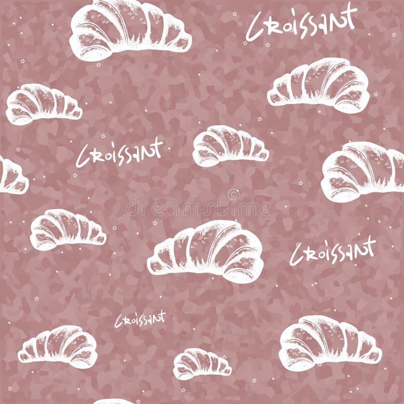Il croissant di schizzo scarabocchia sul modello senza cuciture del fondo pastello fondo con il croissant francese Forno dolce Ca royalty illustrazione gratis