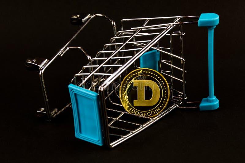 Il cryptocurrency del DOGE di Dogecoin significa del pagamento nel settore finanziario immagine stock libera da diritti