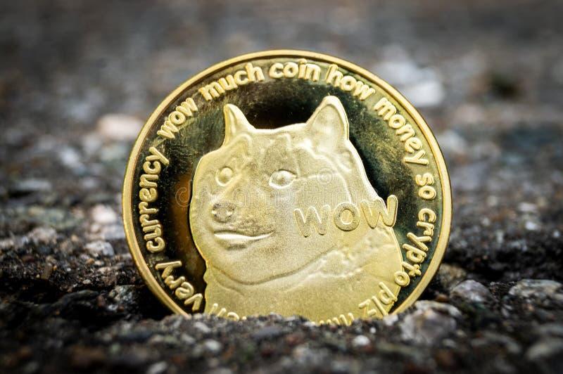 Il cryptocurrency del DOGE di Dogecoin significa del pagamento nel settore finanziario immagine stock