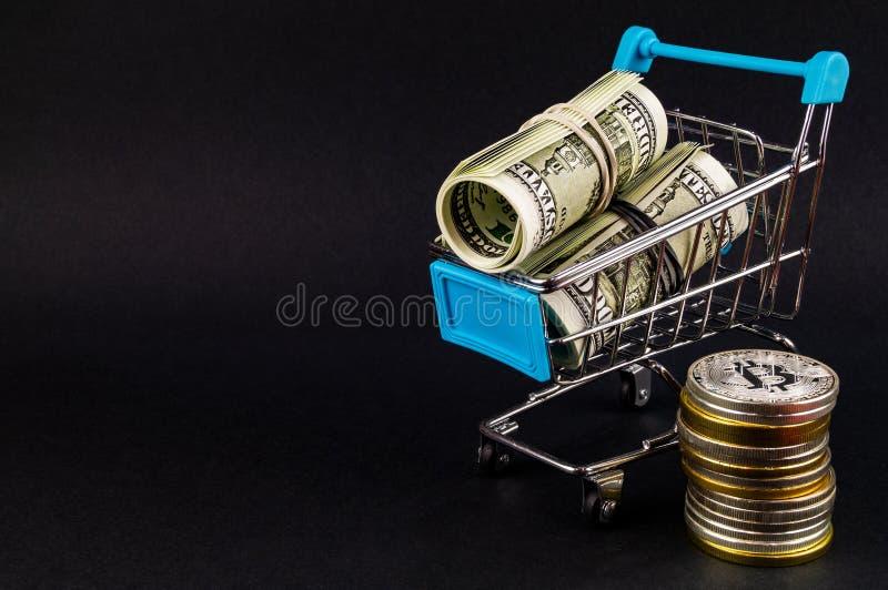 Il cryptocurrency di Bitcoin BTC significa del pagamento nel settore finanziario immagine stock