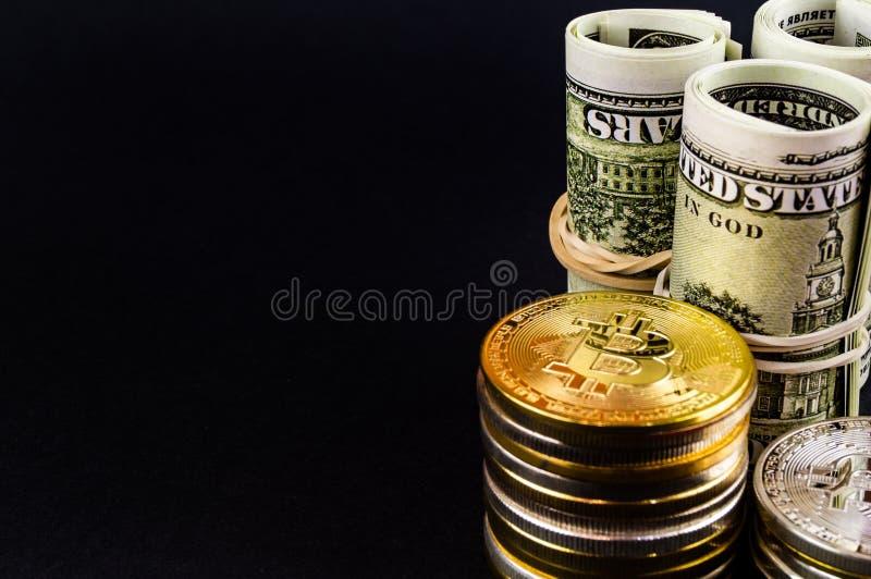 Il cryptocurrency di Bitcoin BTC significa del pagamento nel settore finanziario immagine stock libera da diritti