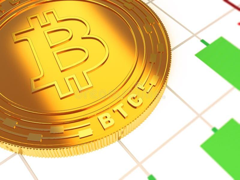 Il cryptocurrency principale dell'oro illustrazione di stock