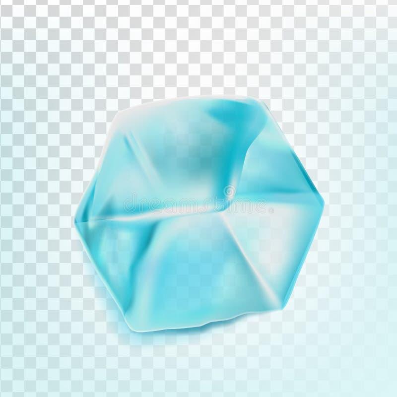 Il cubetto di ghiaccio ha isolato il vettore di Transpatrent Pezzo fresco Quadrato Aqua Symbol intelligente Illustrazione realist illustrazione vettoriale
