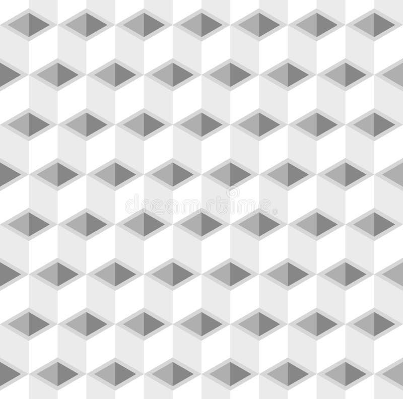 Il cubo bianco e grigio astratto modella il fondo illustrazione di stock
