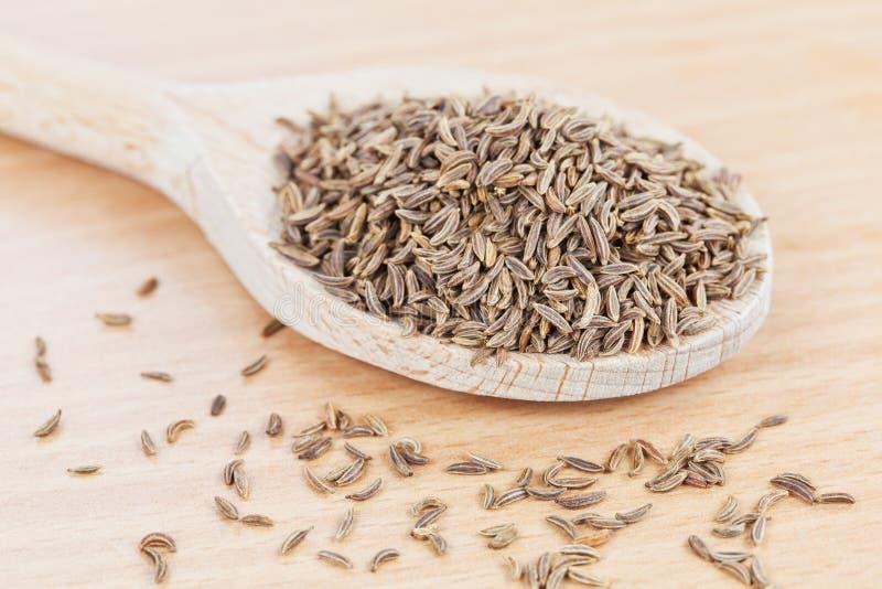 Il cucchiaio di legno ha riempito di semi di cumino immagini stock