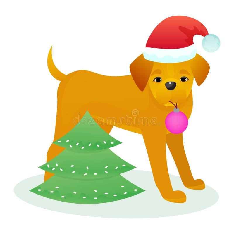 Il cucciolo animale di vettore dell'animale domestico del cane di Natale in cappello di Santa la celebrazione su festa del buon a illustrazione vettoriale