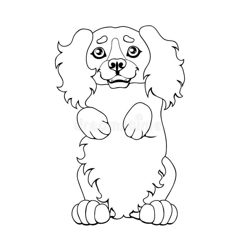 Il cucciolo di un cane costa sulle gambe più posteriori illustrazione vettoriale