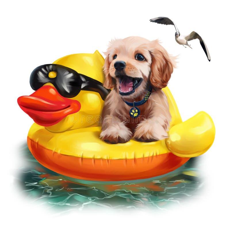 Il cucciolo galleggia su un disegno gonfiabile dell'acquerello dell'anatra royalty illustrazione gratis