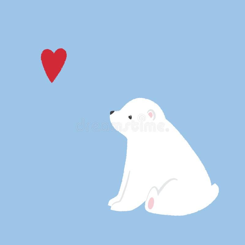 Il cucciolo sveglio dell'orso polare si siede illustrazione di stock