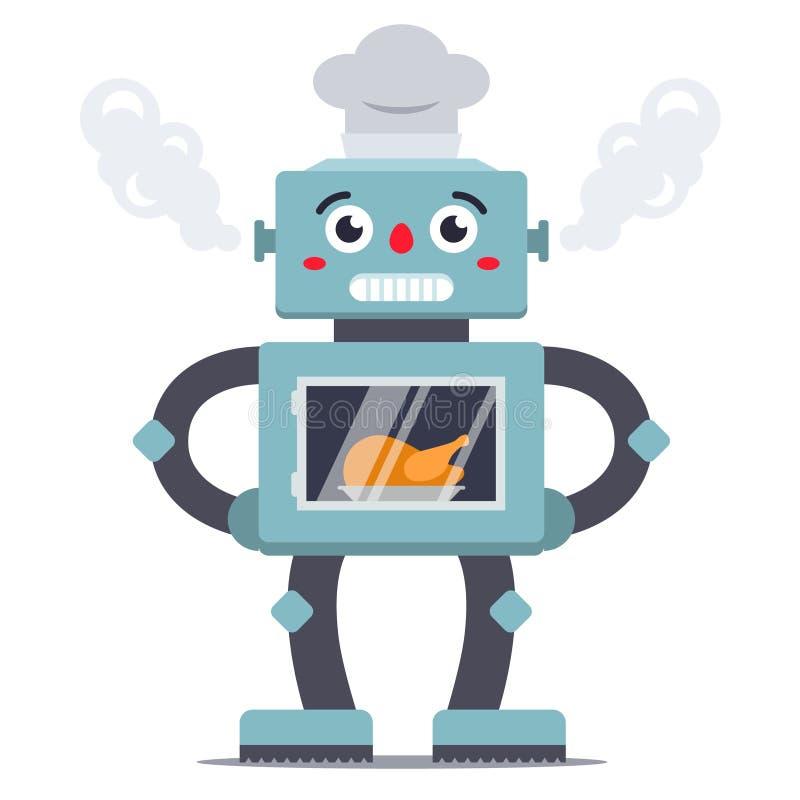 Il cuoco del robot cucina il pollo nel forno assistente illustrazione vettoriale