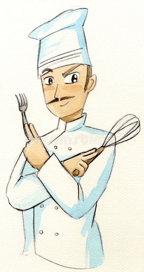 Il cuoco unico con la forcella e sbatte illustrazione vettoriale