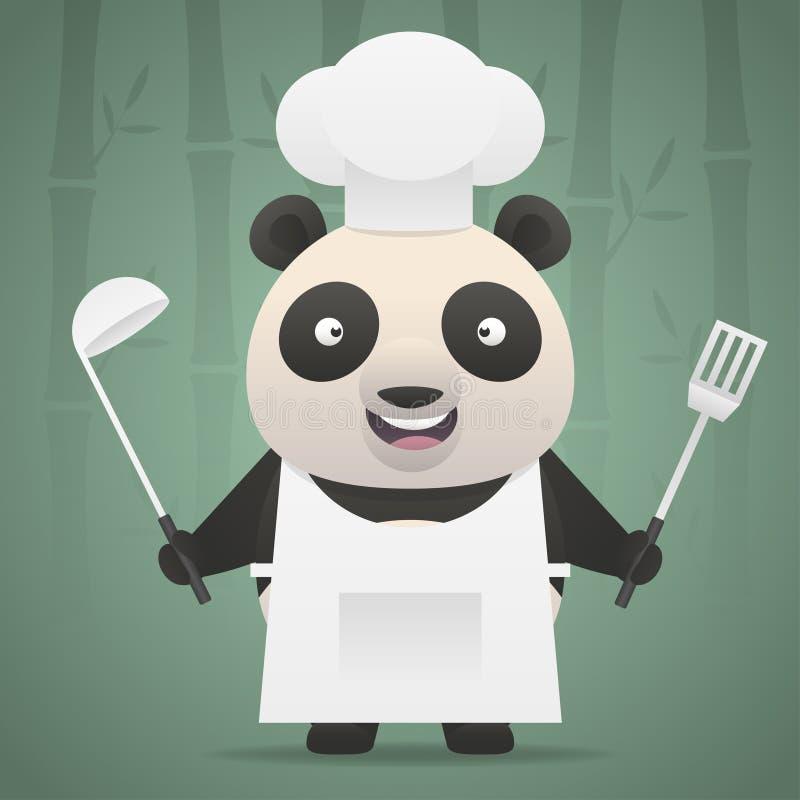 Il cuoco unico del panda tiene la siviera e la pala di minestra illustrazione di stock