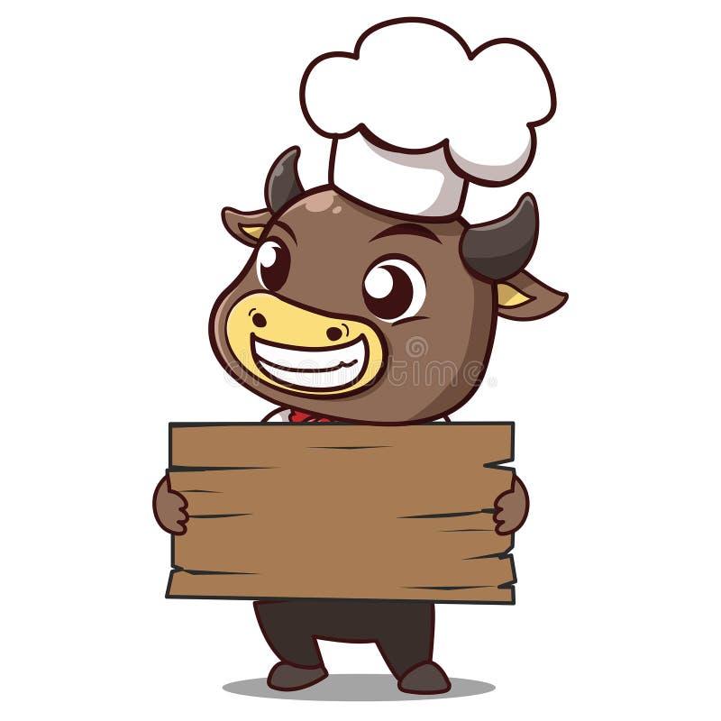 Il cuoco unico del toro tiene un legno del contrassegno royalty illustrazione gratis