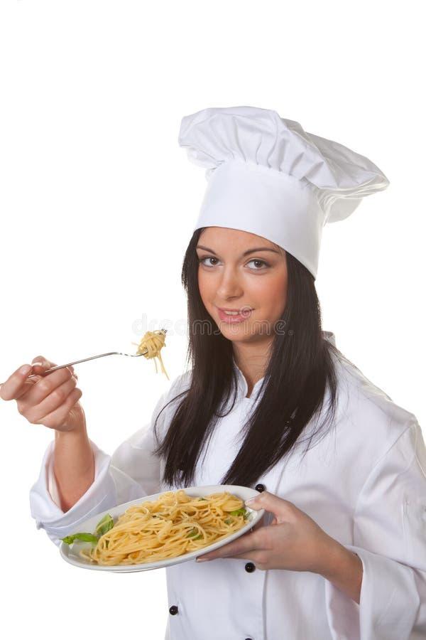 Il cuoco unico dell'apprendista ha avuto un sapore fotografia stock