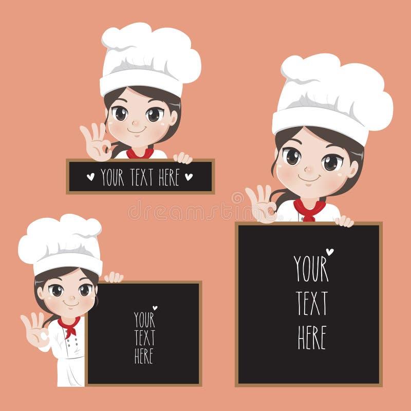 Il cuoco unico femminile tiene un contrassegno per l'alimento ed il ristorante del caffè illustrazione vettoriale