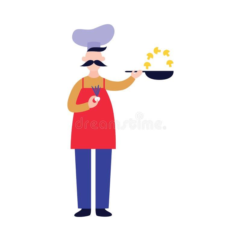 Il cuoco unico maschio sta e tiene la pentola mentre friggere si espande rapidamente stile piano del fumetto illustrazione di stock