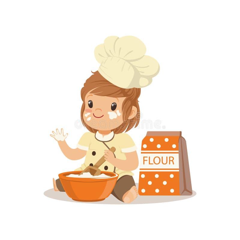Il cuoco unico sorridente sveglio della bambina con la ciotola e sbatte l'illustrazione di vettore di cottura royalty illustrazione gratis