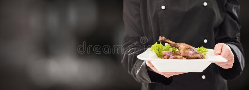 Il cuoco unico tiene la cena fatta perfetta fotografia stock libera da diritti