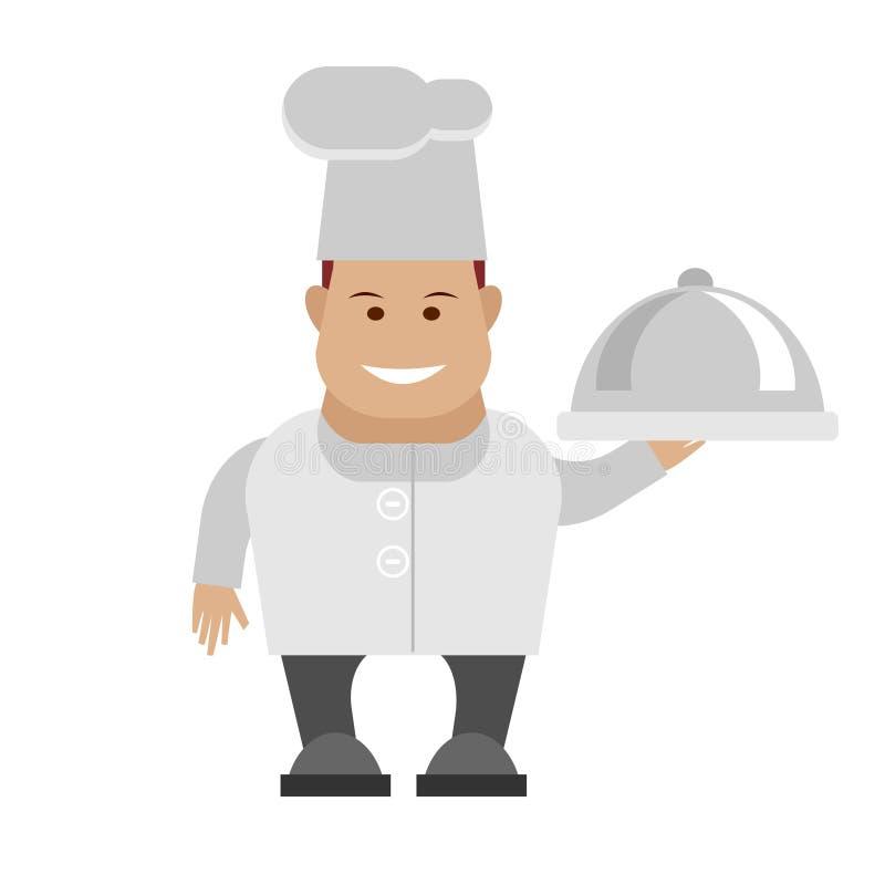 Il cuoco unico tiene un piatto royalty illustrazione gratis
