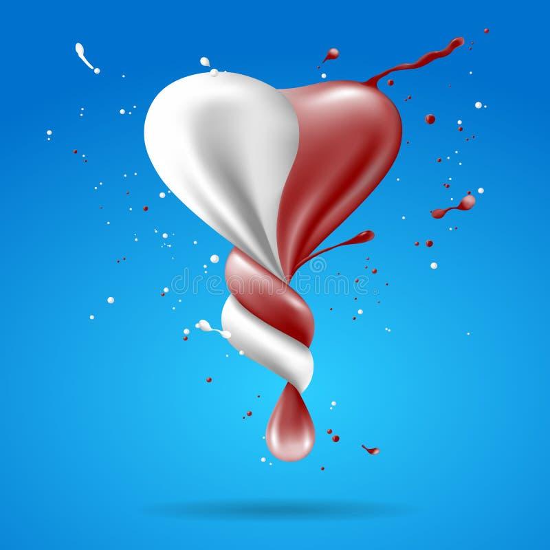 Il cuore astratto di forma con latte ed il cioccolato torcono royalty illustrazione gratis