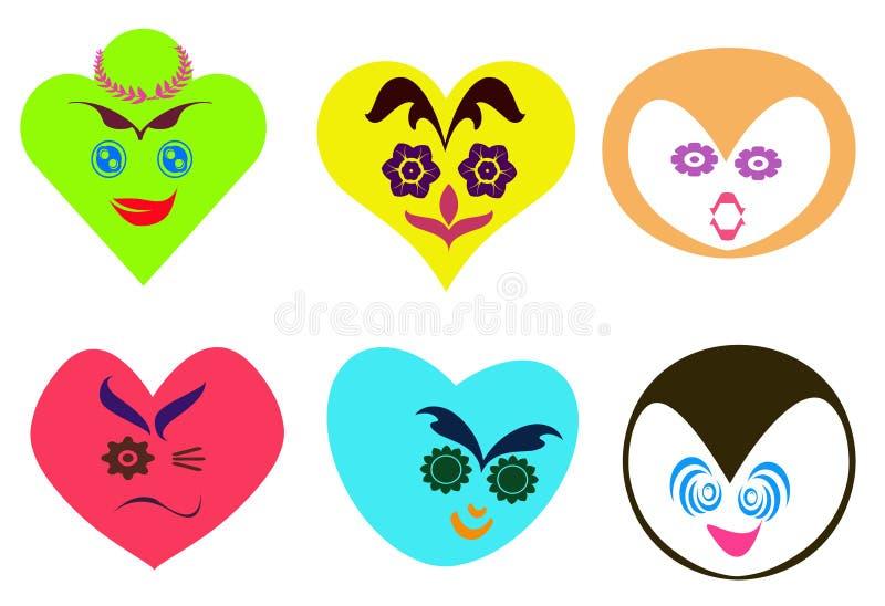 Il cuore astratto ha modellato i fronti con il fondo differente di espressione illustrazione di stock