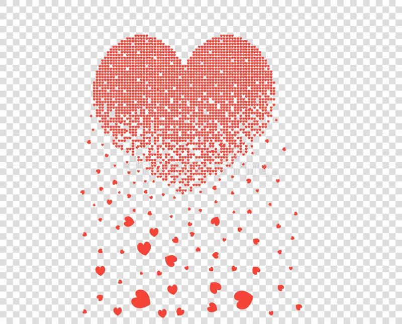 Il cuore che consiste di molti piccoli cuori del pixel si dissolve, briciole sotto forma di foglie Illustrazione di vettore, inse immagini stock libere da diritti