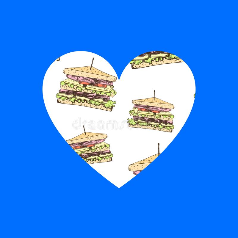 Il cuore con i panini disegnati a mano, simbolo di vettore di amore con l'illustrazione degli alimenti a rapida preparazione ha i illustrazione vettoriale