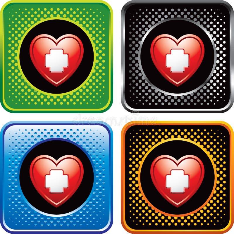 Il cuore con l'icona del pronto soccorso sul Web di semitono si abbottona illustrazione vettoriale