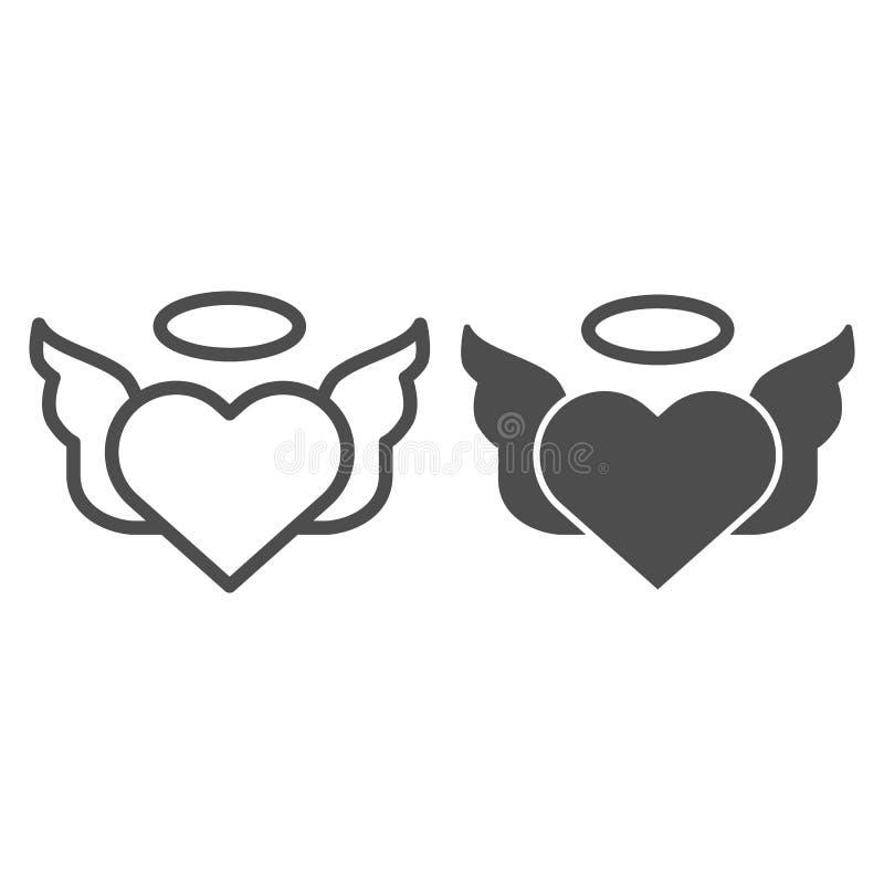 Il cuore con le paia delle ali allinea e dell'icona di glifo Illustrazione di vettore del cuore dei biglietti di S. Valentino iso royalty illustrazione gratis