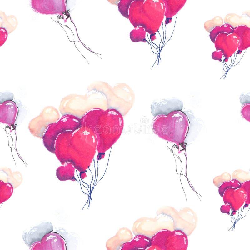 Il cuore del disegno dell'illustrazione balloons il modello senza cuciture porpora royalty illustrazione gratis