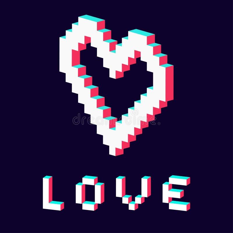 Il cuore del pixel ha reso a 3d il bianco rosso blu illustrazione di stock