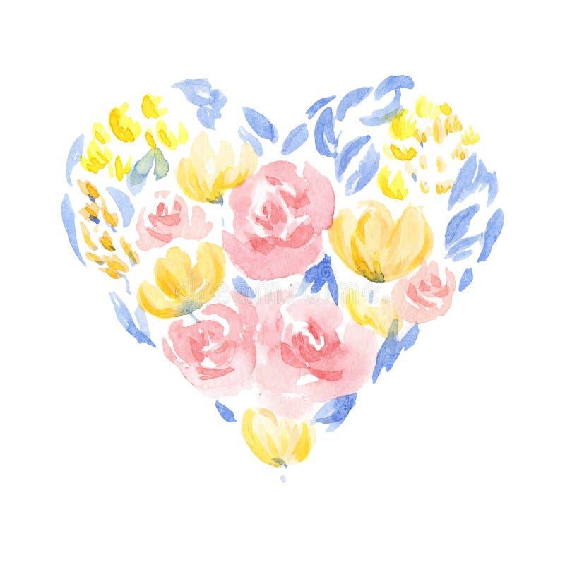 Il cuore dell'acquerello ha modellato i fiori Elemento di progettazione per le cartoline d'auguri royalty illustrazione gratis
