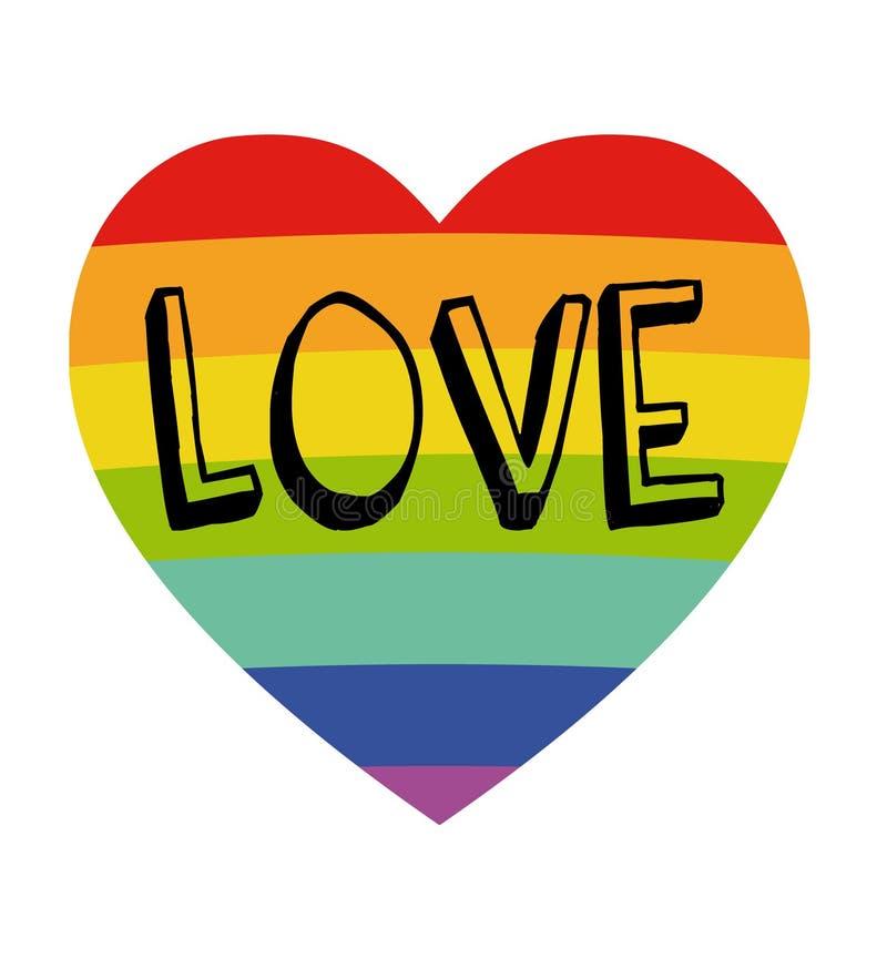 Il cuore dell'arcobaleno con vita migliora insieme - sul manifesto disegnato a mano del fondo bianco Concetto di LGBT Simbolo di  illustrazione vettoriale