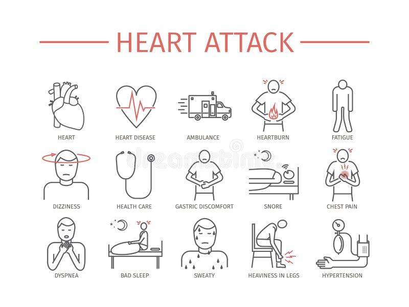 il cuore di attacco mantiene l'uomo Sintomi, trattamento Linea icone messe Vettore illustrazione di stock