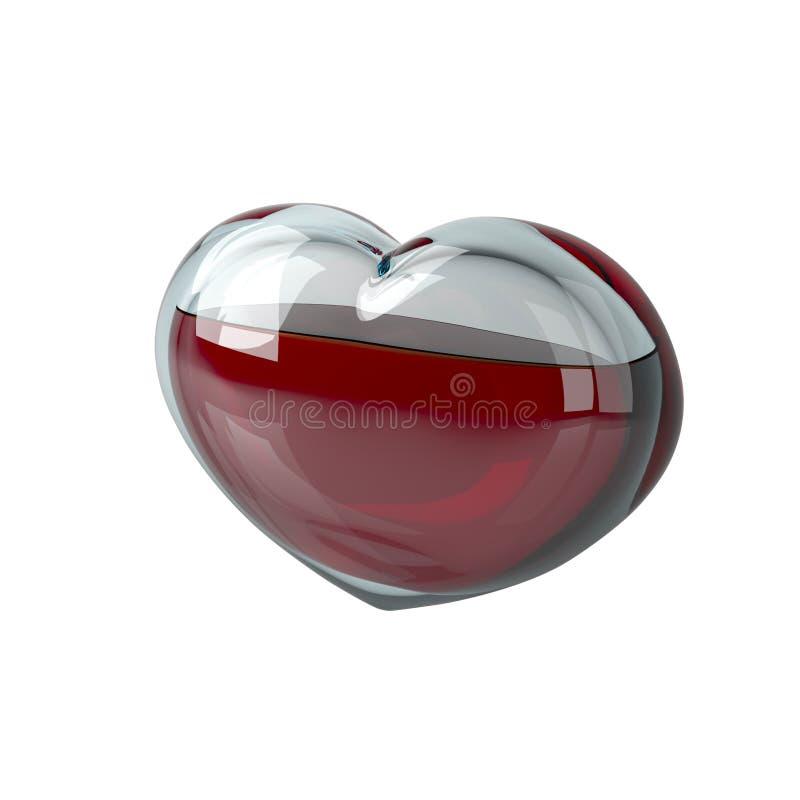 Il cuore di vetro è riempito di liquido rosso, come sangue su un bianco royalty illustrazione gratis