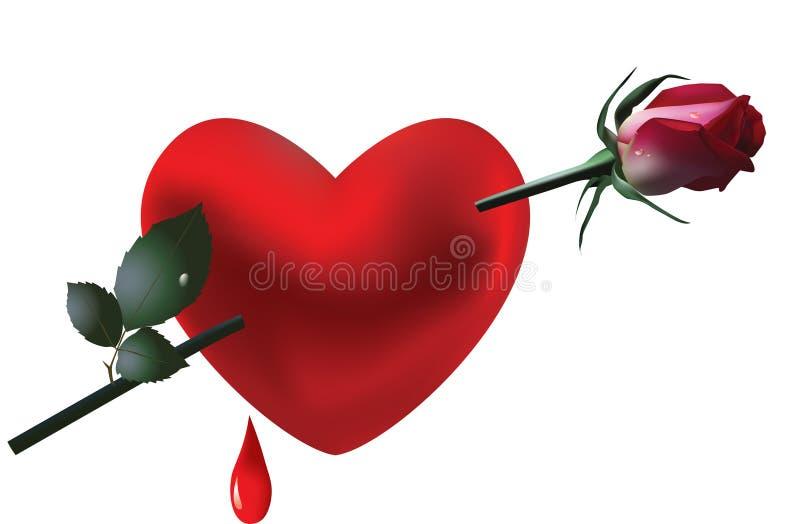 Il cuore ed è aumentato. Scheda di giorno del biglietto di S. Valentino. royalty illustrazione gratis