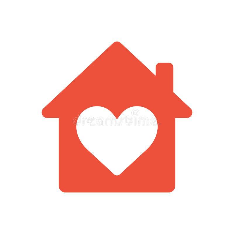 Il cuore firma dentro l'icona della casa, icona dell'ed, simbolo domestico di amore royalty illustrazione gratis