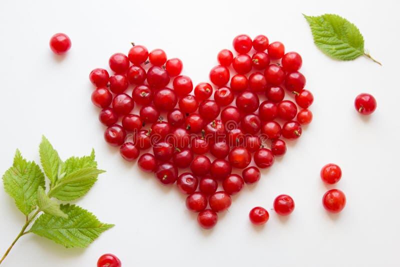 Il cuore ha fatto dalle ciliege isolate su bianco Concetto di amore fotografia stock