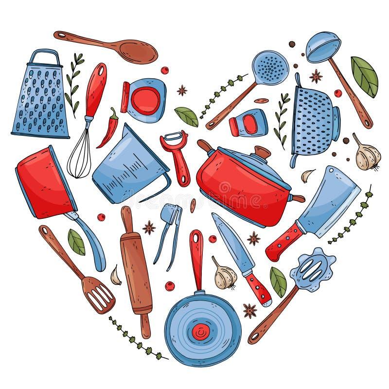 Il cuore ha fatto degli elementi con gli strumenti disegnati a mano della cucina per isolare su un fondo bianco royalty illustrazione gratis