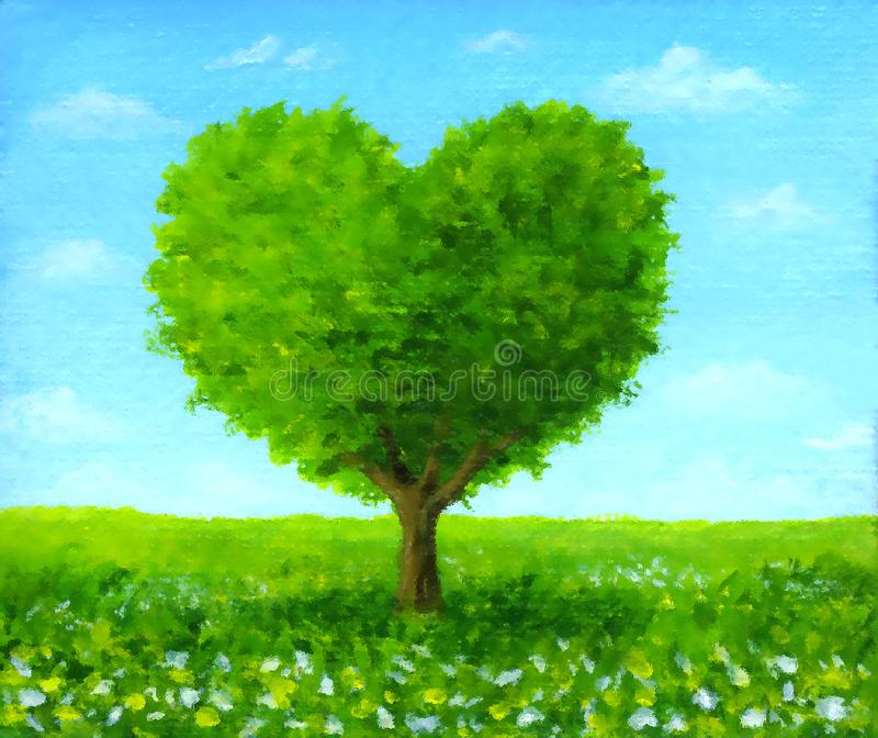 Il cuore ha modellato la condizione verde del paesaggio dell'albero in un campo dei fiori fotografia stock